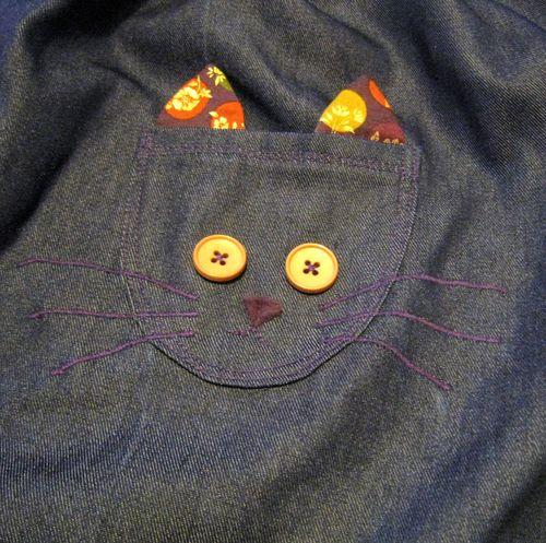 Jupe chat détail poche